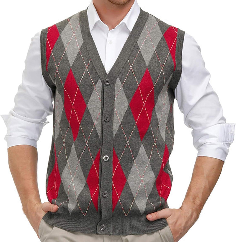 1940s Men's Shirts, Sweaters, Vests PJ PAUL JONES Mens Sweater Vest Cardigan Button Front Knitwear Contrast Color Argyle Sweater Vest  AT vintagedancer.com