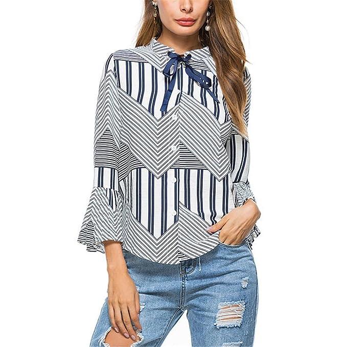 Blusa de Rayas Casual para Mujer Camisa de Moda Otoño Mujer Pajarita Flare 3/4