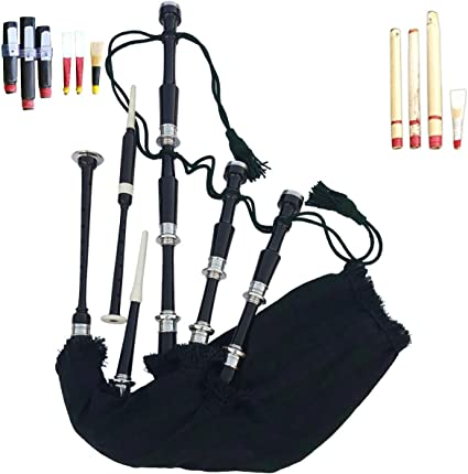 PROFESSIONAL GREAT HIGHLAND BAGPIPE BLACK SILVER MOUNTS WITH TUTOR BOOK AND DRONES,REEDS,HEMP,PRACTICE CHANTER