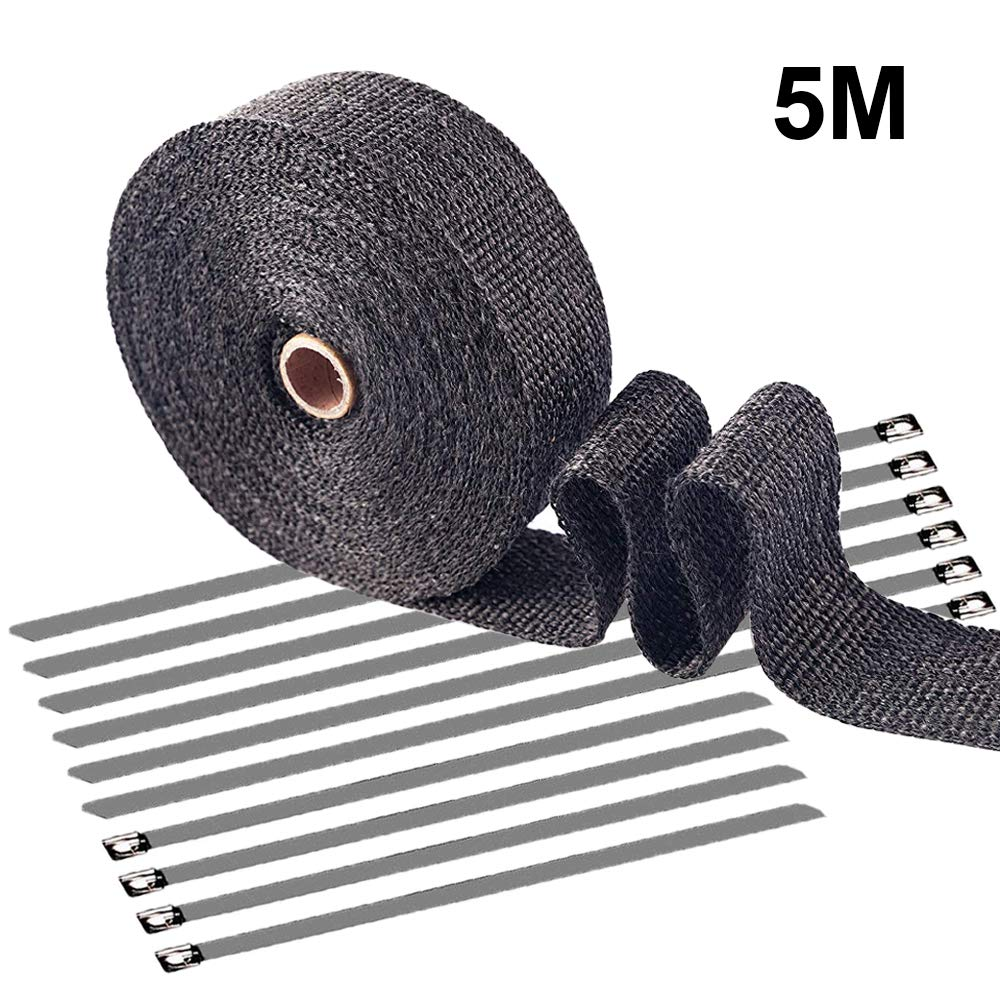 """Ispeedytech Titanium 2/"""" X 16.5FT Black Exhaust Heat Wrap Tap Exhaust Pipe Manifold Wrap Header Glassfiber Wrap Kit for Car Motorcycle with 10 Stainless Ties"""