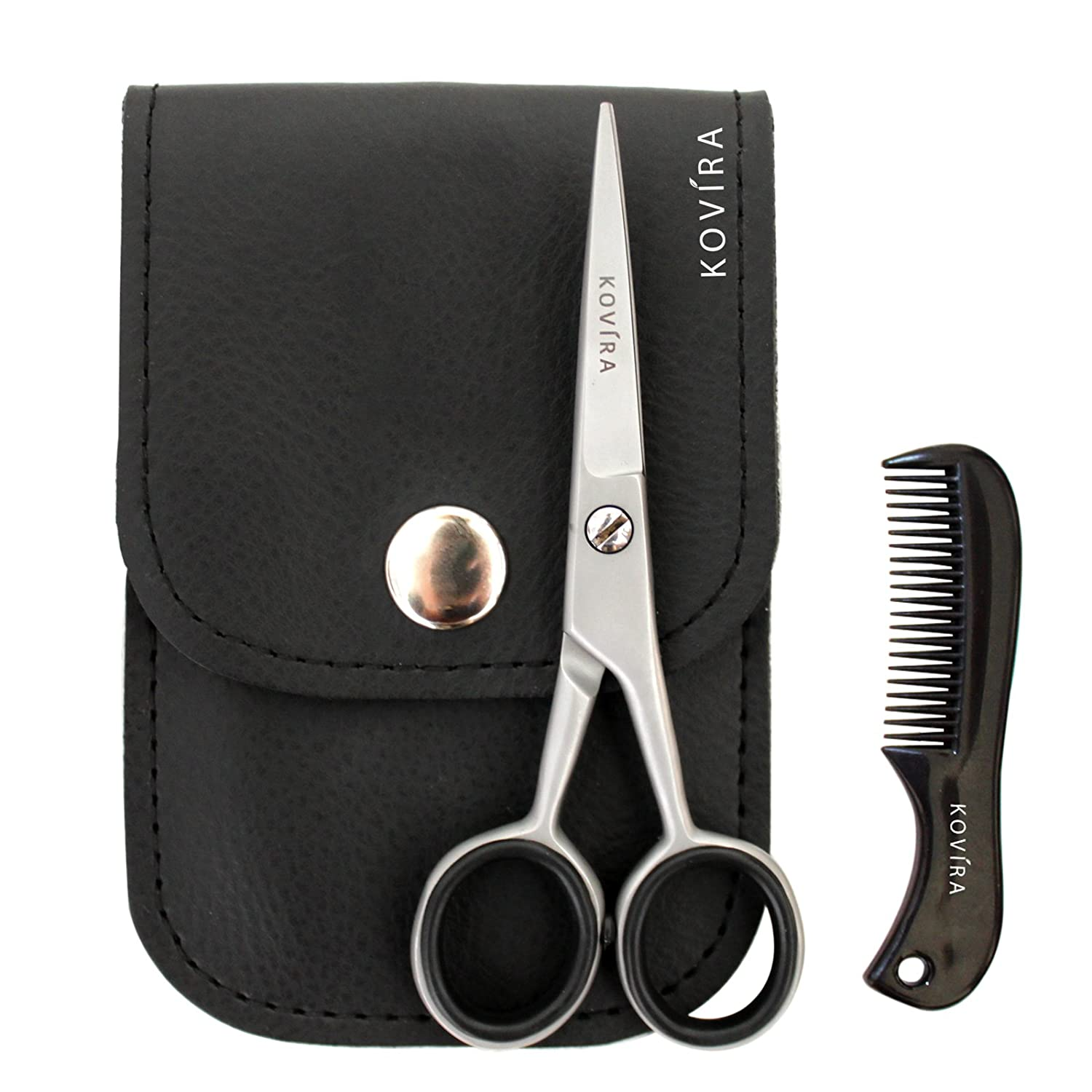 Beard and Moustache Scissors with Comb for Precise Facial Hair Trimming by Kovira - Beard Scissors Kit with case for Facial Grooming - Beard Trimming - Moustache Grooming Set - Beard Comb