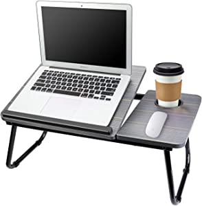 Laptop Table for Bed Portable Computer Tray for Bed,Foldable Bed Desk for Laptop Multi Tasking Laptop Bed Tray(Black) with Cup Holder