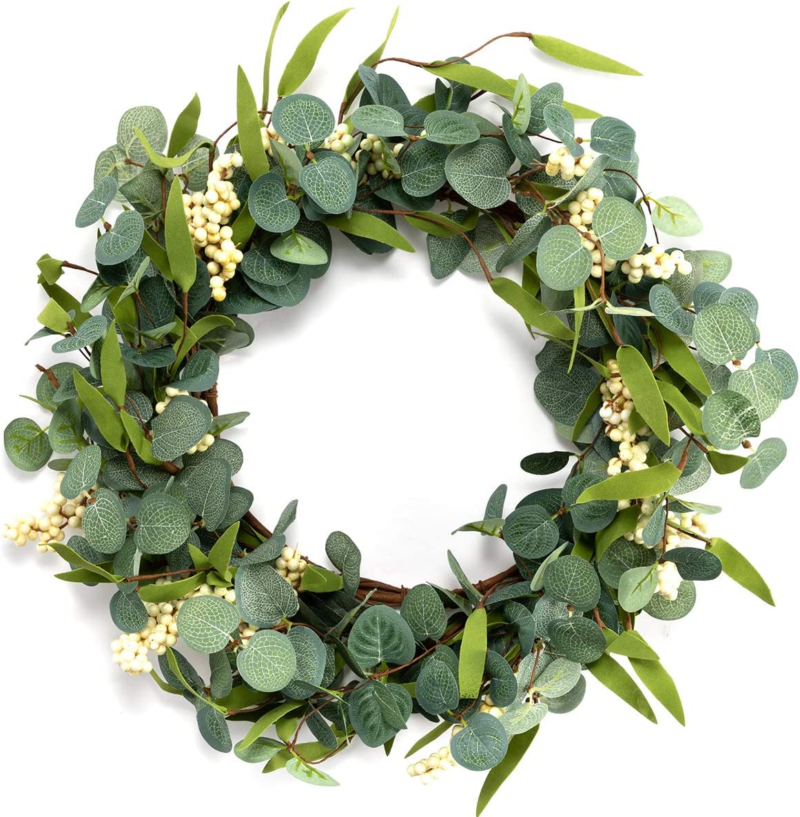 """Lifeety Artificial Eucalyptus Wreath, 20"""" Fake Green Leaves Wreath for Home Front Door Hanging Wall Window Wedding Party Decor"""