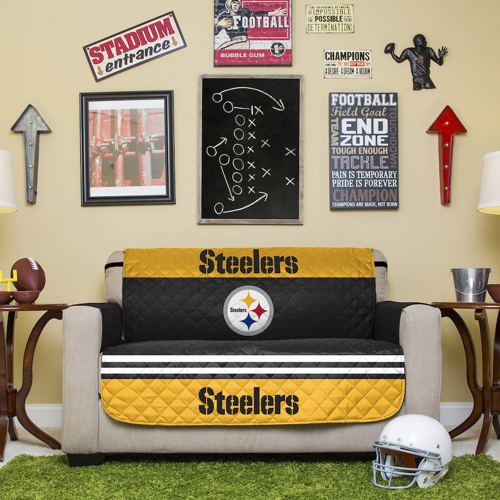 Pegasus Home Fashions NFL Pittsburgh Steelers Love Seat Reversible Furniture Protector with Elastic Straps, 75-inches by 88-inches