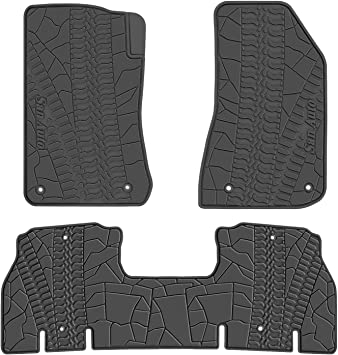 San Auto Cargo Liners Custom Fit for Jeep Wrangler 2018 2019 Trunk Mats Full Black Rubber All Weather with Subwoofer Heavy Duty Odorless