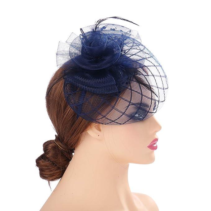 9256ee71a50 MYCHARM Mesh Net Veil Fascinators Hats Hair Clip Cocktail Tea Party  Headwear Headbands kentucy Derby for