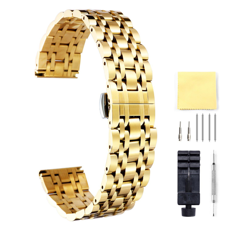Binlunステンレススチール時計バンド6色(ゴールド、Sliver、ブラック、ローズゴールド、ゴールドトーン、ローズゴールドトーン) 17 (10 mmサイズ – 26 mm) 23mm ゴールド 23mm ゴールド ゴールド 23mm B078WNCZBD