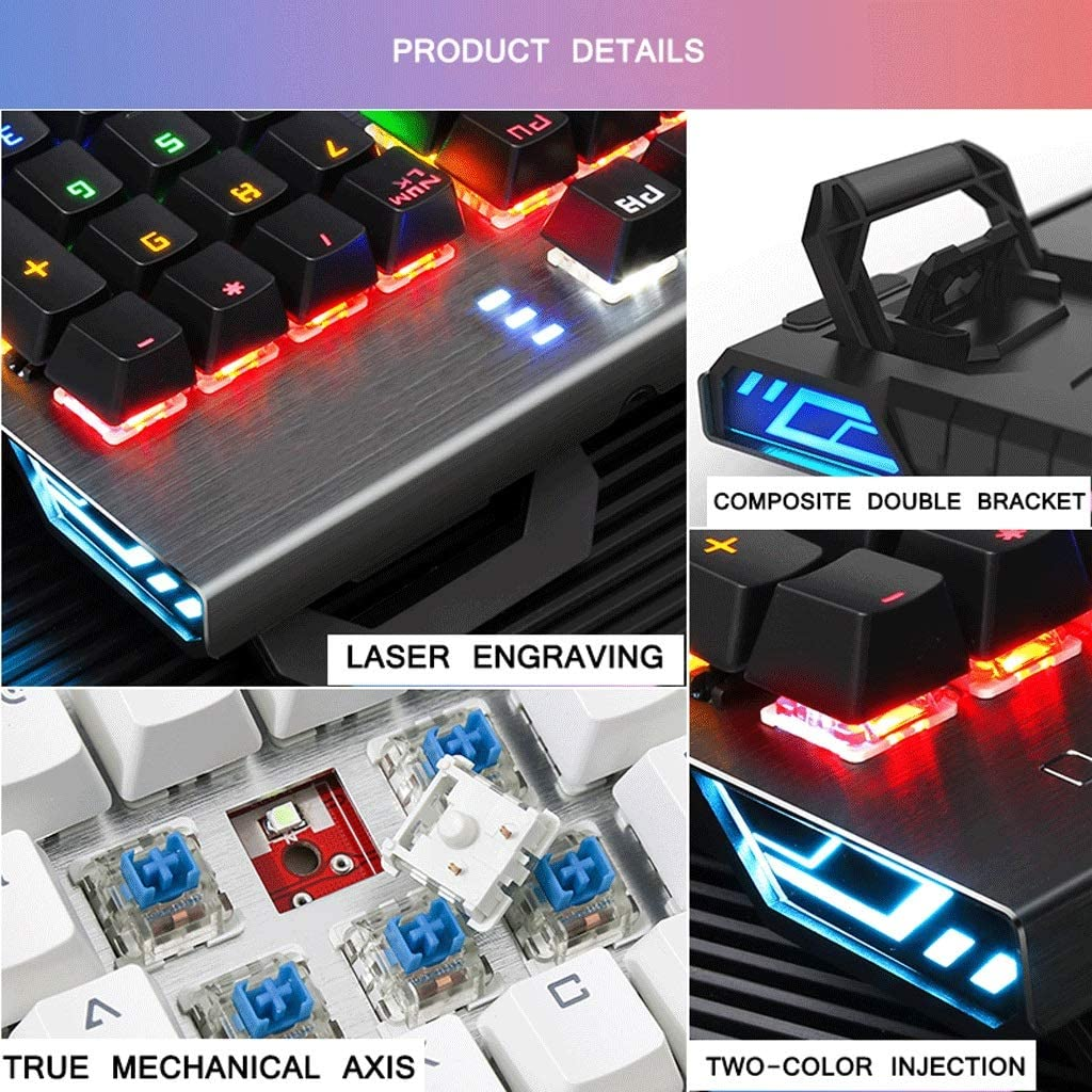 E-Sports Mechanical Keyboard Wired Game Metal Shaft Chocolate Square Button Backlight Office Internet Cafe Color : Chocolate White Blue axis