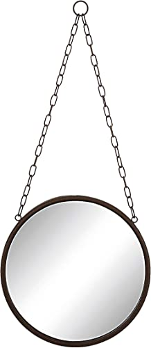 Creative Co-Op DA1392 Medium Round Metal Framed Wall Mirror with Chain,Bronze,Small