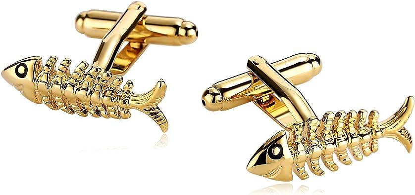 Beydodo Gemelos Camisa Hueso de Pescado Gemelos Hombre Acero Inoxidable Gemelos Camisa Oro: Amazon.es: Joyería
