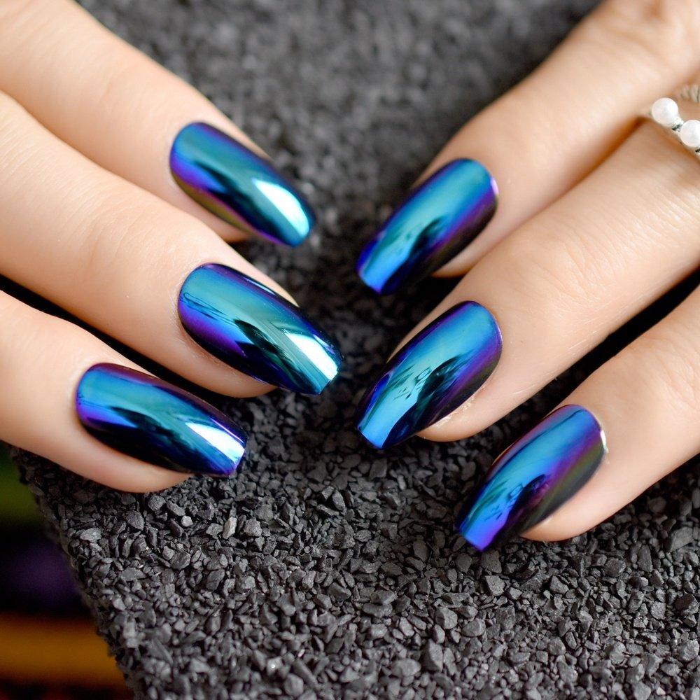 24pcs Blue Coffin Design Mirror Nail Art Tip Medium Flat Stiletto