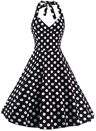 U-shot Women Sleeveless Polka Dot 50s Housewife Vintage Bridesmaid Gown Cocktail Party Halter Swing