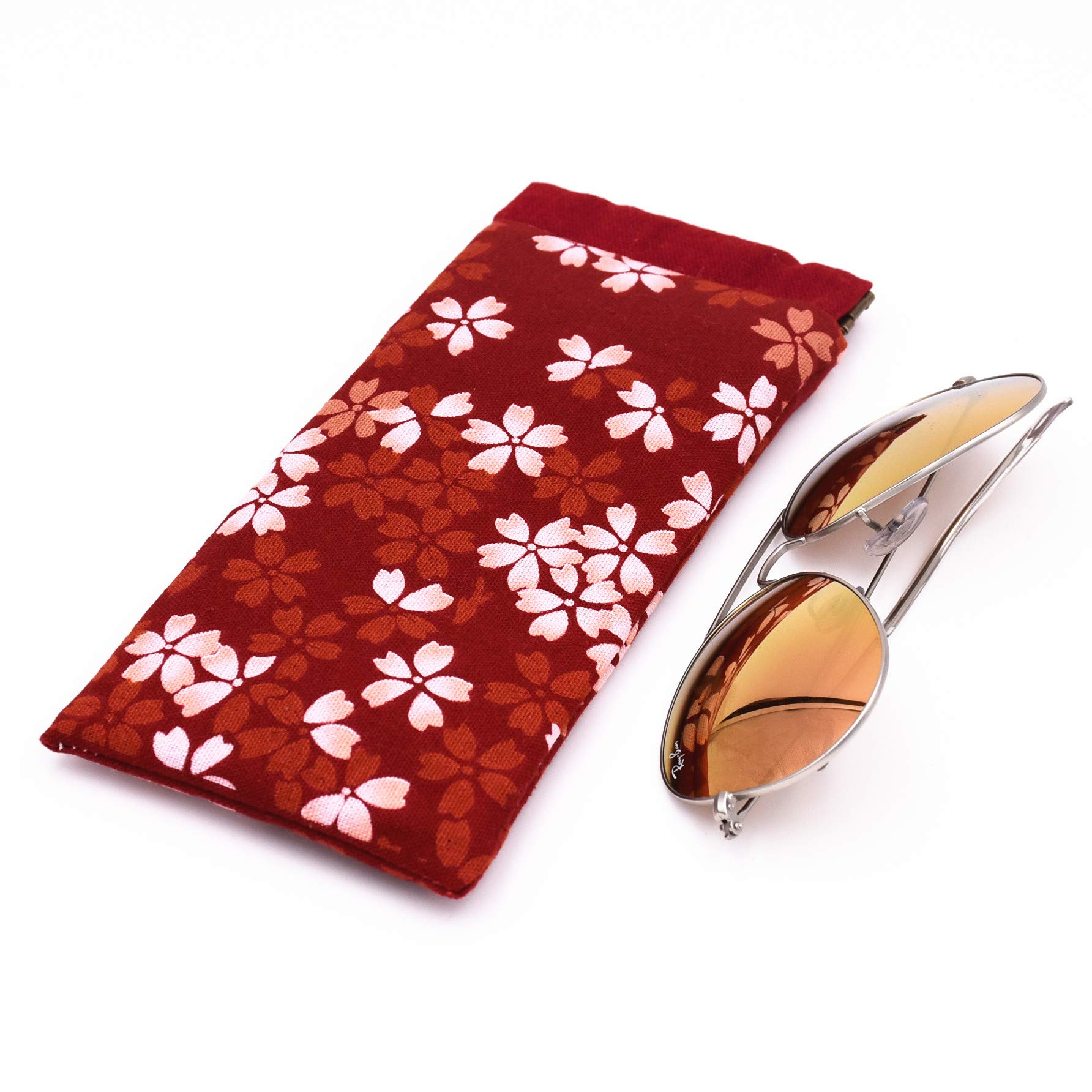 Eyeglass Cases Cotton Eyeglasses Pouch Sunglasses bag with Spring Clip (Sakula 2 PCS) by GGT (Image #3)