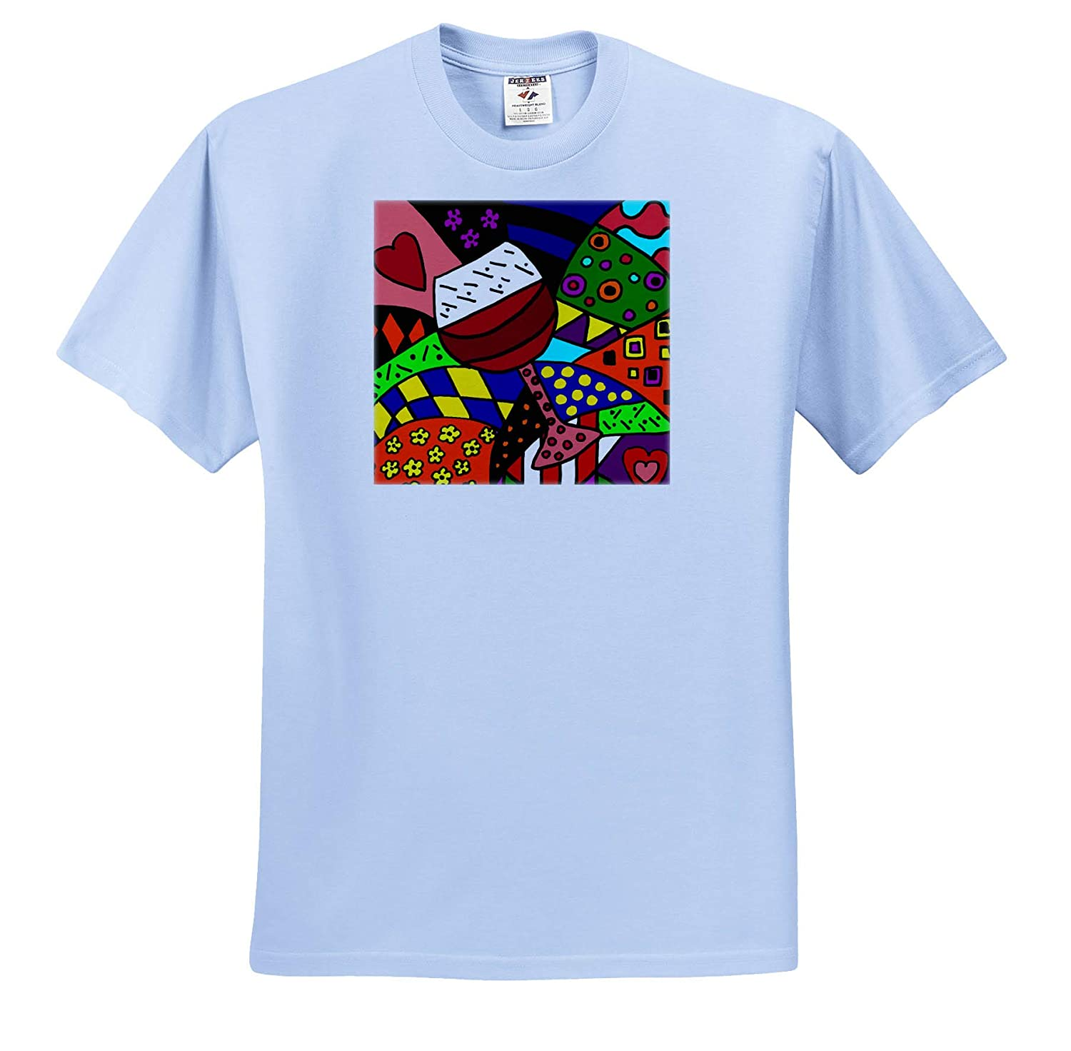 T-Shirts 3dRose All Smiles Art Cool Artistic Fun Red Wine Glass Abstract Art for Wine Lovers Drinking