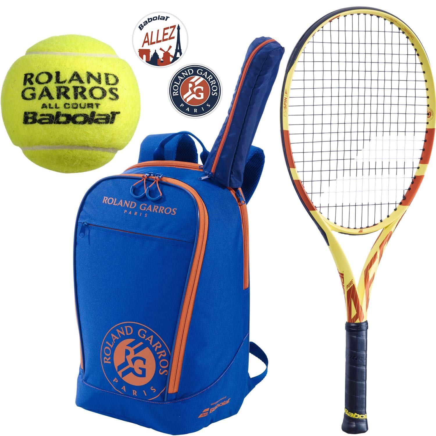 Babolat Roland Garros Pure Aero 26'' Junior Tennis Racquet (4 1/8'' Grip) Bundled with an RG Club Backpack, a can of RG All Court Tennis Balls and a Set of RG Dampeners