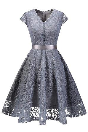 Babyonlinedress Damen Elegant Kleider 1950s Spitzenkleid Cocktailkleid  Knielange Swing Partykleid Vintage Abendkleid Gr.S-2XL  Amazon.de   Bekleidung 58227c2967