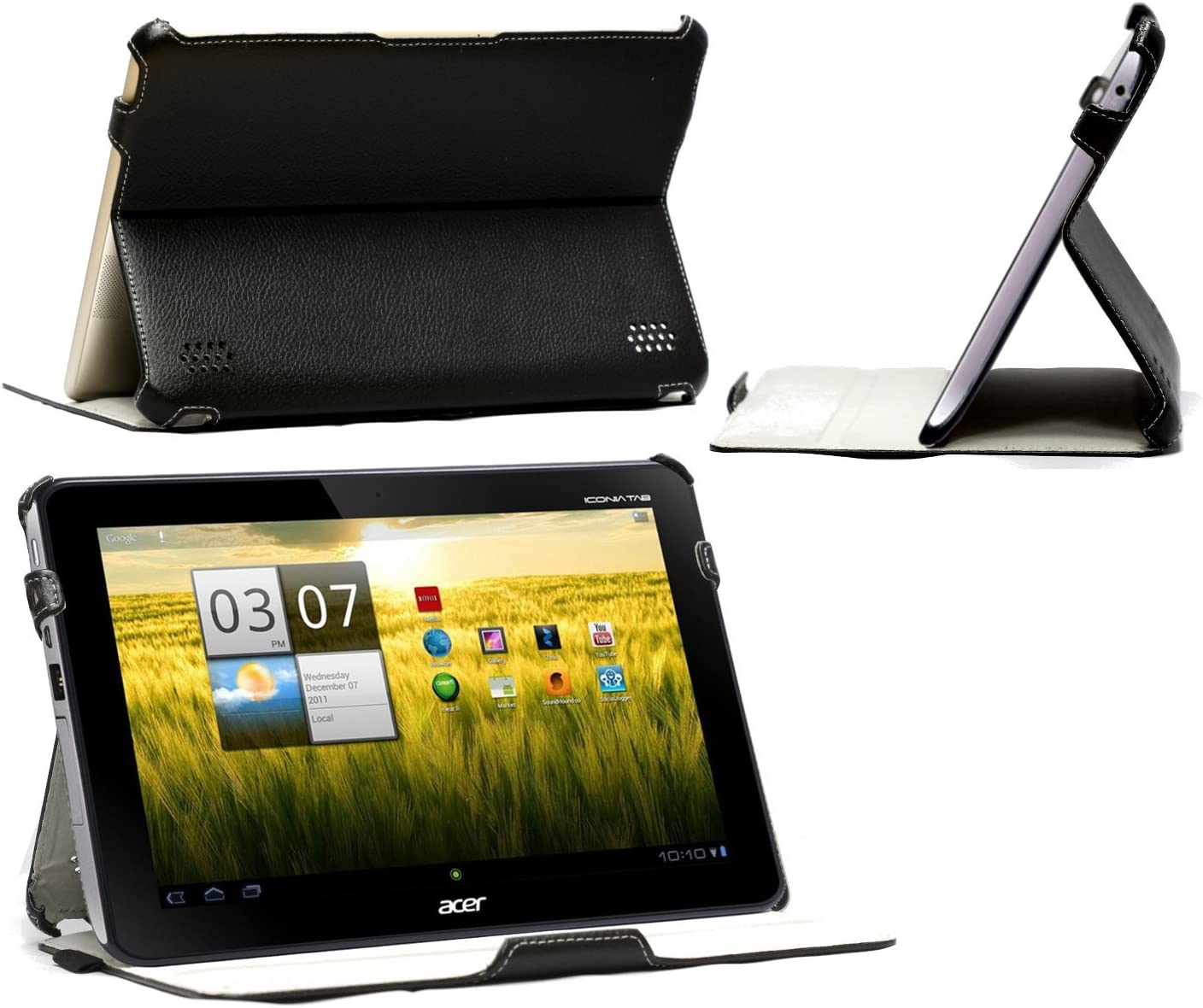 Navitech Couth Black Multi Stand Faux Leather Case Compatible with The Acer Iconia Tab A210/ A211
