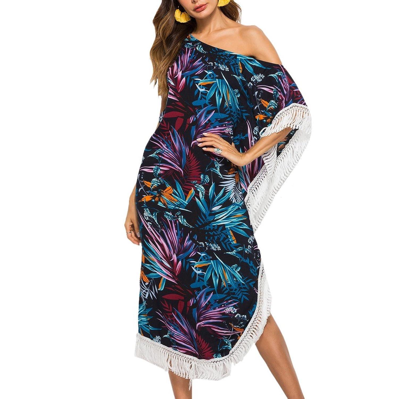 ae6008d49a Algodón para mujer traje de baño de playa borla casual verano vestido largo  Estampado floral