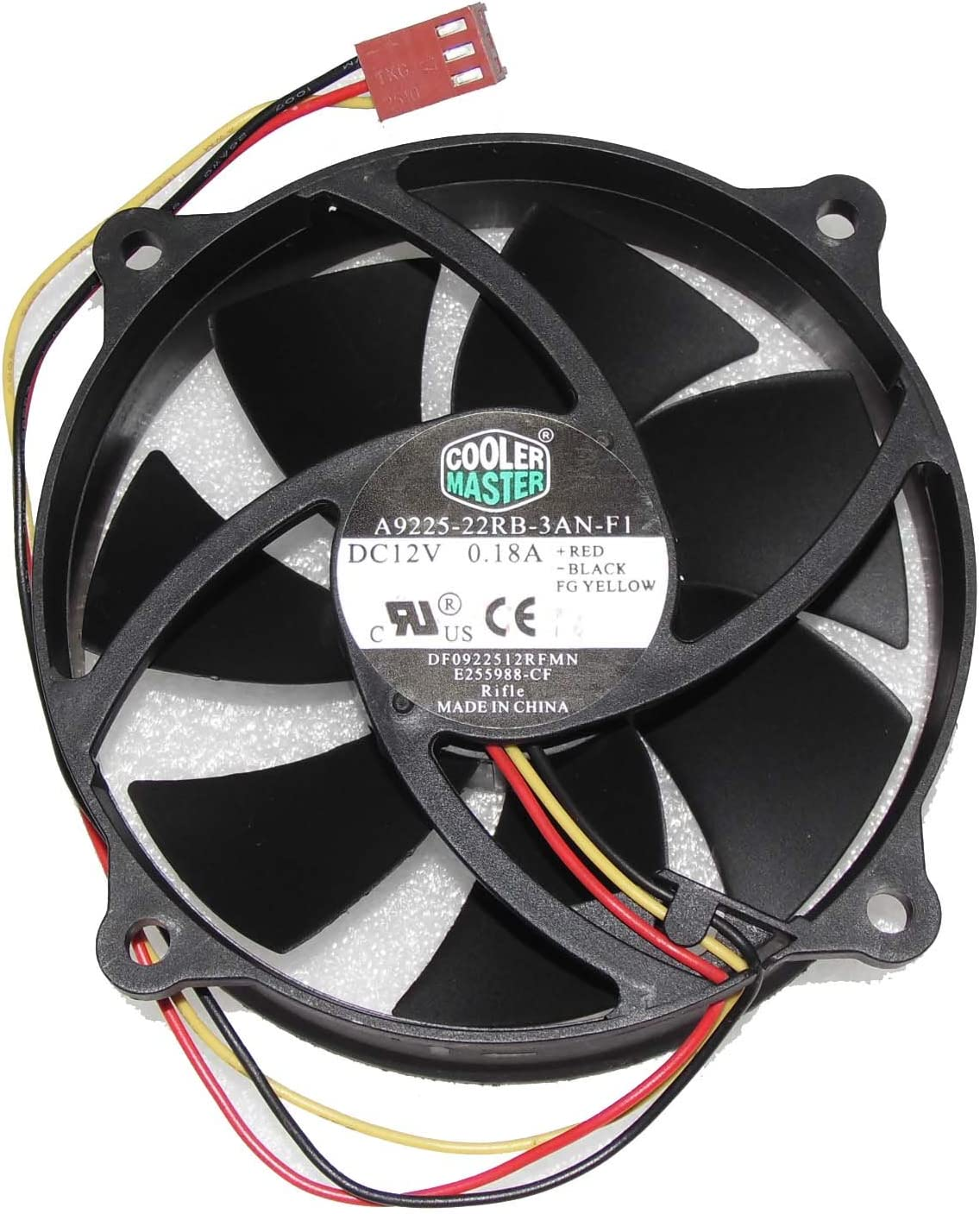 Cooler Master A9225-22RB-3AN-F1 DF0922512RFMN 12V 0.18A 3Wire Cooling Fan
