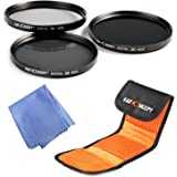K&F Concept® 55mm Neutral Density Filter Set ND2 ND4 ND8 Kit for Sony A55 A55 A57 A65 A77 A100 DSLR Cameras + Microfiber Lens Cleaning Cloth + 3 Slot Filter Pouch