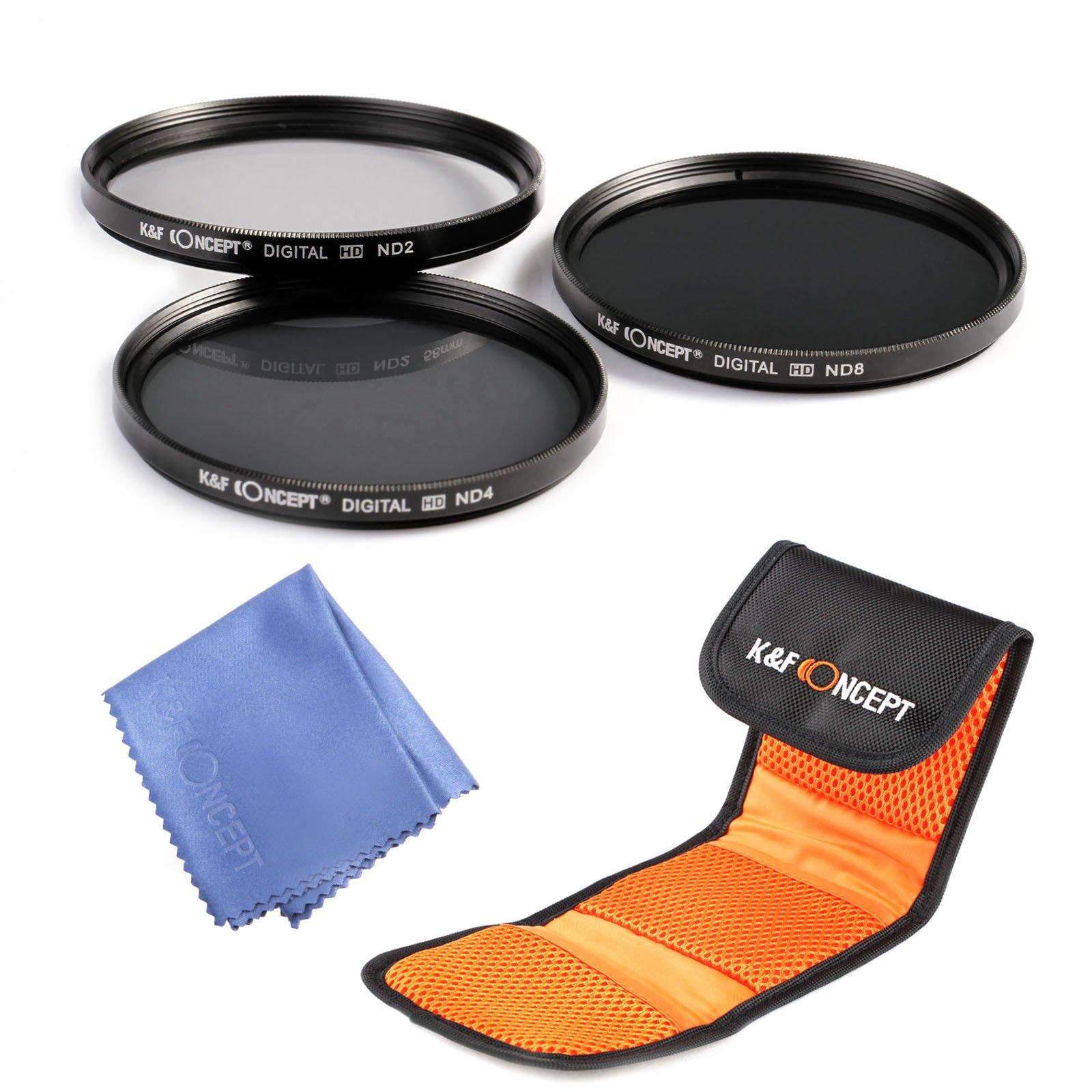 K&F Concept 52mm Lens Filter Kit Neutral Density ND Filter Set ND2 ND4 ND8 for Nikon Canon DSLR Cameras + Filter Pouch