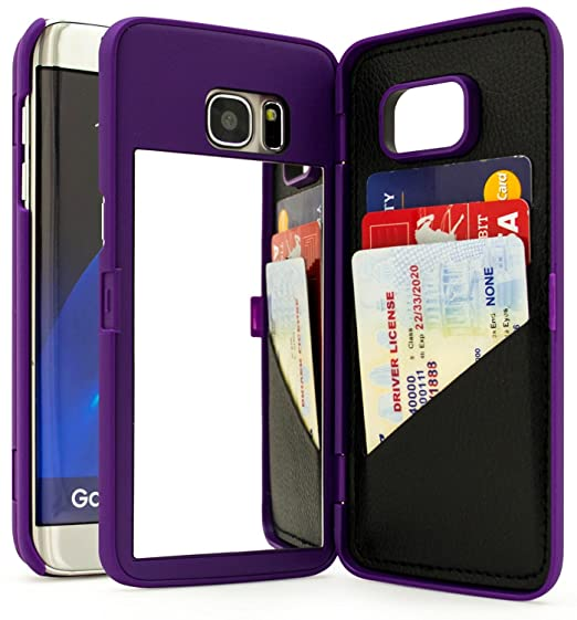 separation shoes 6d9e9 55001 Bastex Galaxy S7 Edge Case, Purple Hidden Back Mirror Wallet Case with  Stand Feature and Card Holder for Samsung Galaxy S7 Edge G935