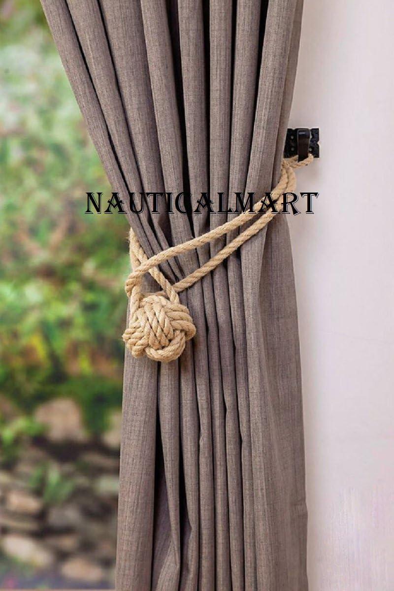 Set of 2 pcs Twisted Jute Rope Thick Jute Rope Curtain Tiebacks-Shabby Chic ties-Nautical Decor-Industrial holdbacks