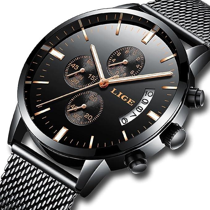Kenon Reloj de Malla de Acero Resistente al Agua, Reloj Deportivo cronógrafo, Reloj día Fecha Calendario (Negro y Blanco)