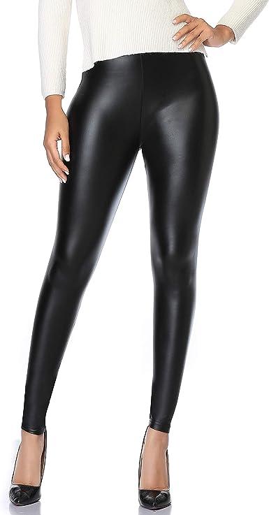 Legging Femme Simili Cuir Faux PU Taille Haute Elastique