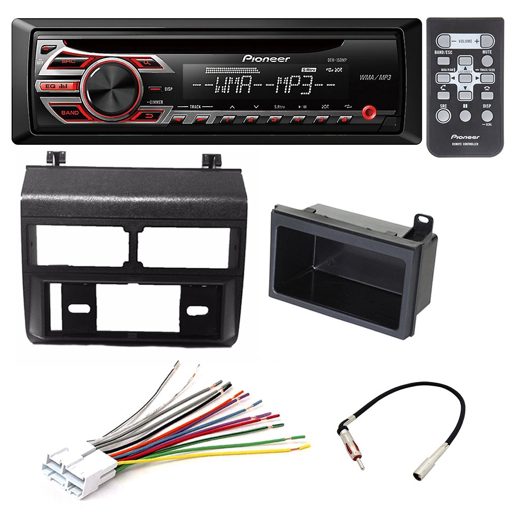 Pioneer Deh 150mp Single Din Car Stereo Radio 1000 Wiring Diagram Dash Installation Mounting Kit Add On Storage Pocket Harness Antenna