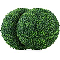 Sunnyglade 2 PCS 15.7 inch 4 Layers Artificial Plant Topiary Ball Faux Boxwood Decorative Balls for Backyard, Balcony,Garden, Wedding and Home Décor