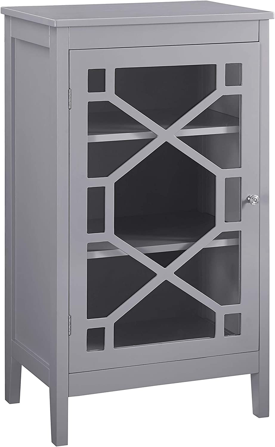 Benjara Single Door Wooden Cabinet with 3 Storage Compartments, Small, Gray