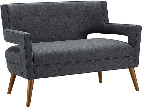 Modway Sheer Upholstered Fabric Mid-Century Modern Loveseat
