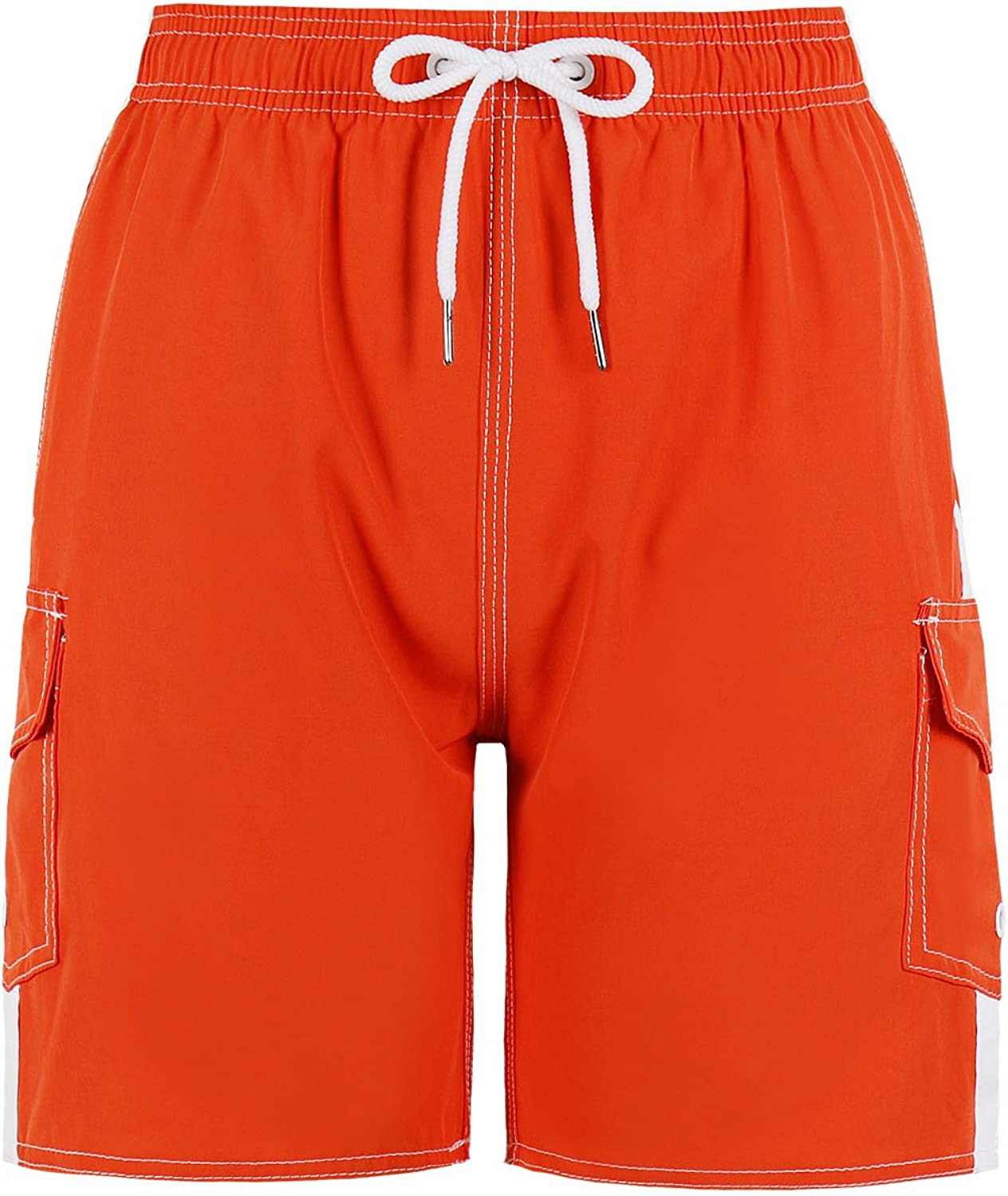 QRANSS Boys Kids Shark Printed Swim Trunks Board Shorts with Pockets: Clothing