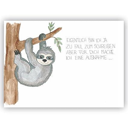 Postkarte Faultier Eigentlich Bin Ich Ja Zu Faul Zum Schreiben Freundschaft Liebe Lustige Postkarte Vermissen Genesungswünsche Gute Besserung
