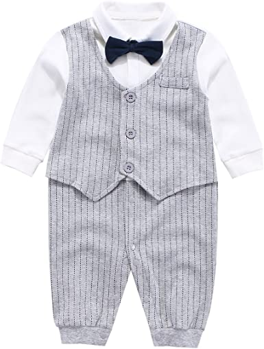 Baby Boy Gentleman Formal Outfit Jumpsuit Bodysuit Wedding Party Suit Dress Up
