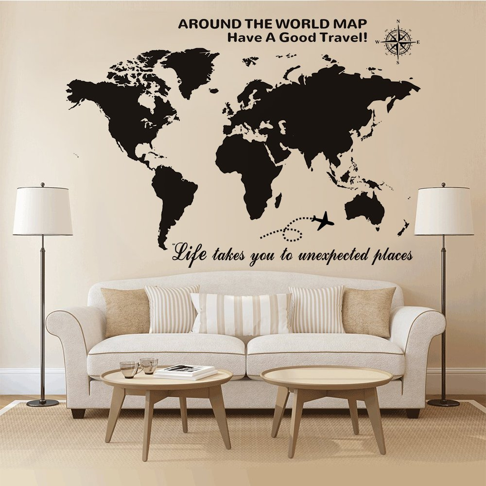 Amazon higoss large world map wall decal with compass travel amazon higoss large world map wall decal with compass travel quotes wall decal vinyl sticker for home office wall decor gray home kitchen gumiabroncs Images
