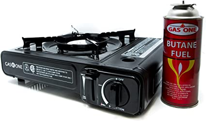 Amazon Com Gas One Gs 3000 Portable Stove With Carrying Case 9 000 Btu Csa Approved Black 11 2 H X 4 W 13 5 L Sports Outdoors