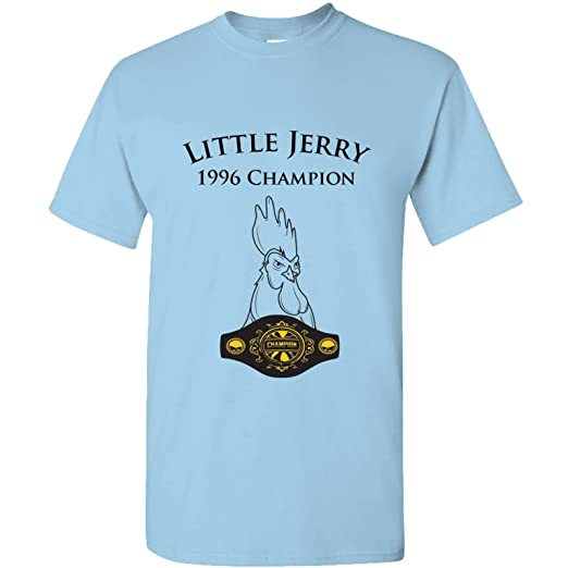 d43a3238 Little Jerry - Funny Chicken Rooster Champion TV Show T Shirt - Small - Sky
