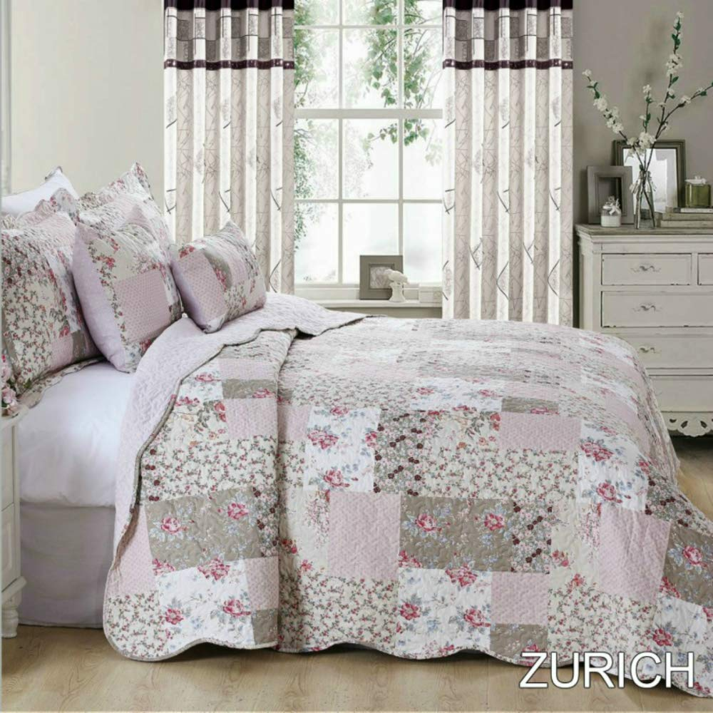Bedspread Patchwork 2 Pillow Sham 3 Piece Set Size 235 cm x 250 cm (Double, Province) PL