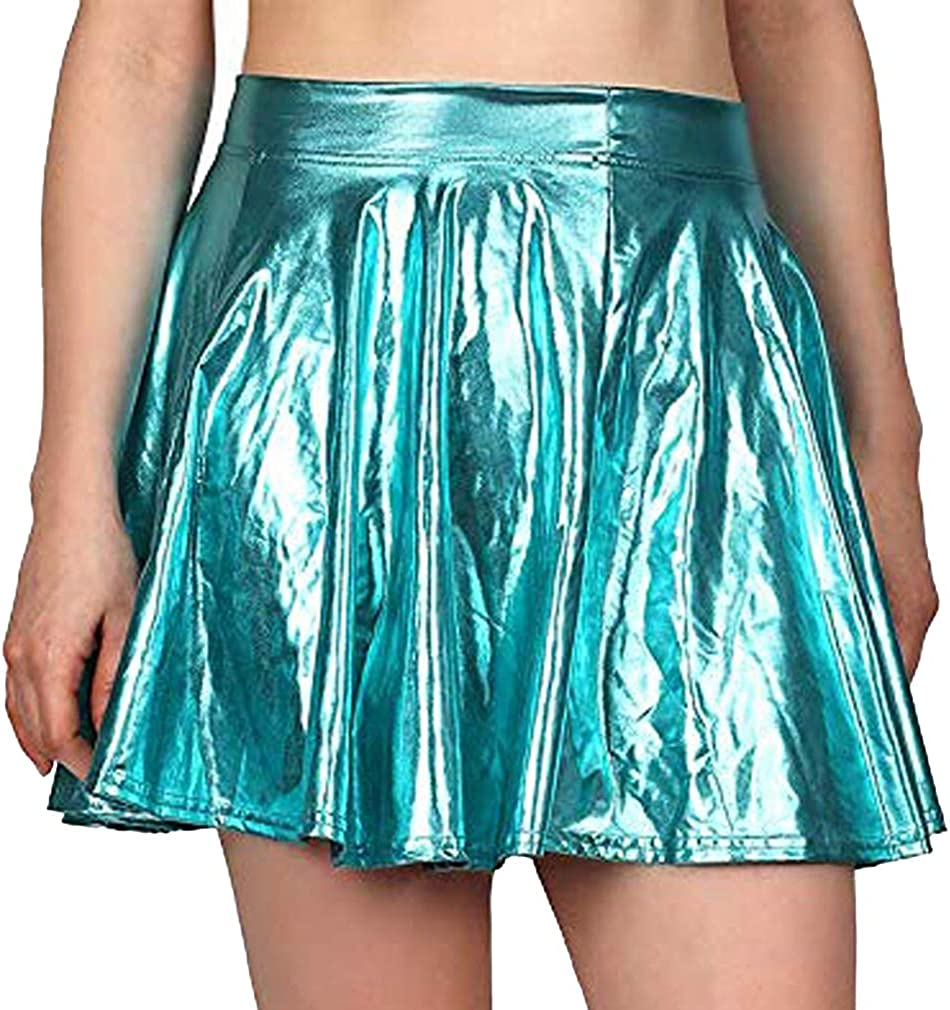 junkai Falda Media Pierna Shiny Wetlook Mujer Cintura Alta A-Link Mini Faldas Metálicas Party Club Show Music Festival Outfits