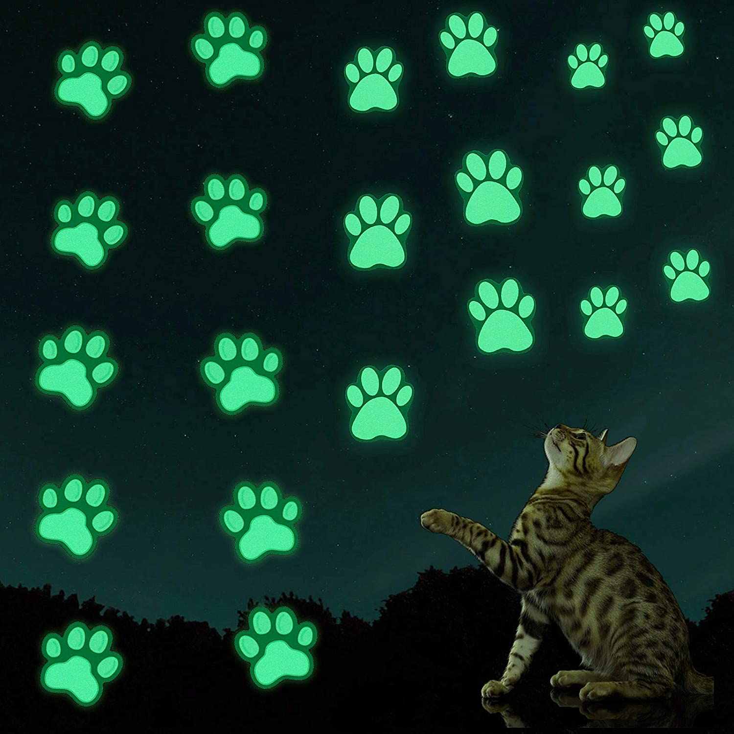 Glow in The Dark Cat Dog Paw Print Stickers Luminous Wall Stickers Birthday Christmas Gifts for Baby Boys Girls Kids Bedroom Decoration