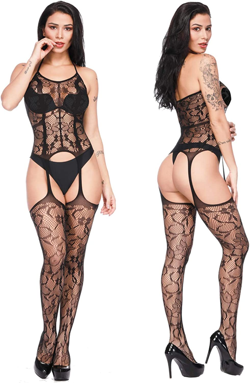 FEPITO 6 Set Women Stockings Lingerie Lace Fishnet Bodysuits for Lingerie Party Date Wearing