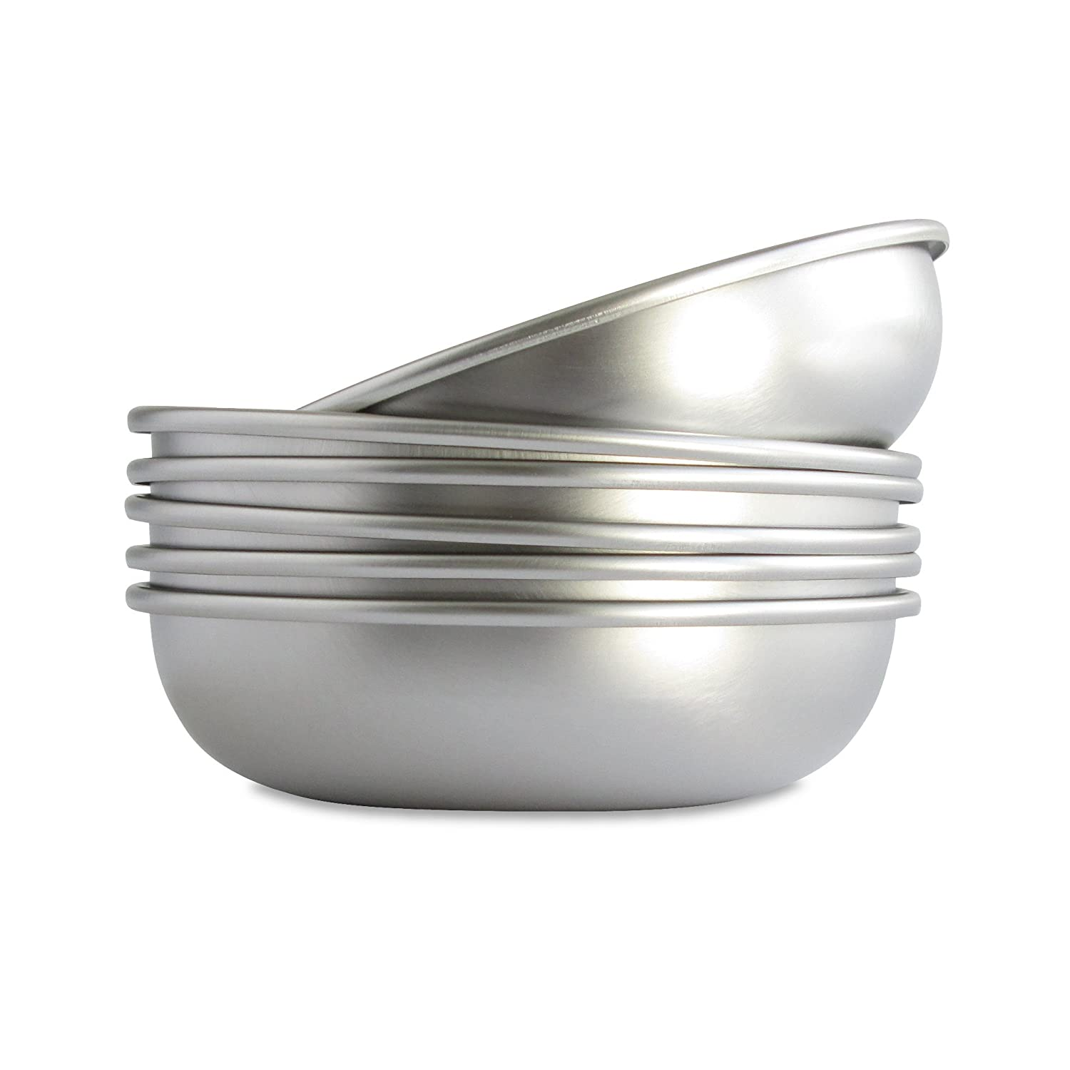 6-PACK Basis Pet Made in The USA Low Profile Stainless Steel Cat Dish, 6 Pack