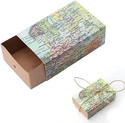 cuigu 50 unidades Praline Caja, mapa del mundo patrón Papel Cortes Caja de Regalo con Ribbon Decor para Boda: Amazon.es: Oficina y papelería