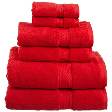 Superior 900 GSM Luxury Bathroom 6-Piece Towel Set, Made of 100% Premium Long-Staple Combed Cotton, 2 Hotel & Spa Quality Washcloths, 2 Hand Towels, and 2 Bath Towels - Red