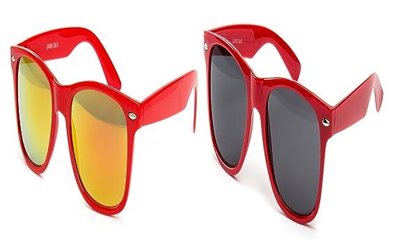 2 er Set Nerd Sonnenbrille Nerd Brille Feuer verspiegelt Schwarz + Rot Gummiert O59nGxXV
