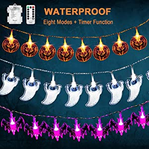 3 Pack Halloween Lights 20LEDS Orange Pumpkins Purple Bats White Ghosts, Battery Operated Waterproof Halloween Decor String Lights with Remote for Halloween Party Decorations Outdoor Indoor