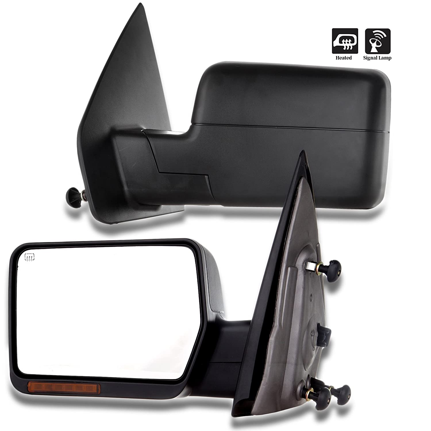 ROADFAR Towing Mirrors Fit Compatible with 2007-2014 Ford F-150 Series Truck Left Rear View Mirrors Power Adjusted Heated Turn Signal Light