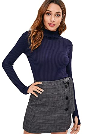 f128e71abedbb ZAFUL Womens  Armhole Ribbed Slim Solid Turtleneck Sweater Long Sleeve Roll  Neck Pullover Sweaters